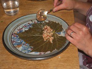 Hulya3Vine leaves being stuffed